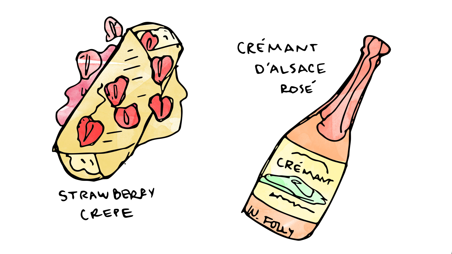 Strawberry and ricotta crepe wine pairing with cremant d alsace rose illustration by Wine Folly