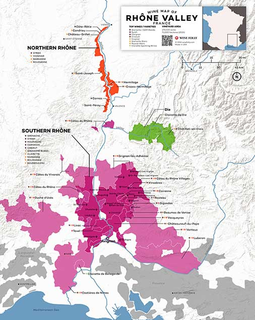 Rhône Valley Wine Map