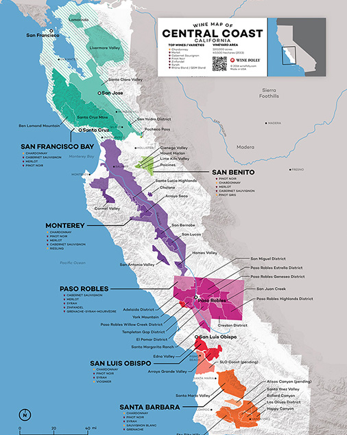 California's Central Coast Wine Map