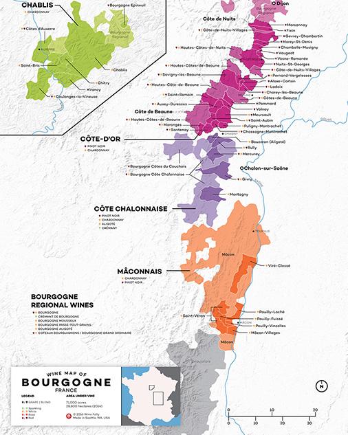 Wine Map of Burgundy
