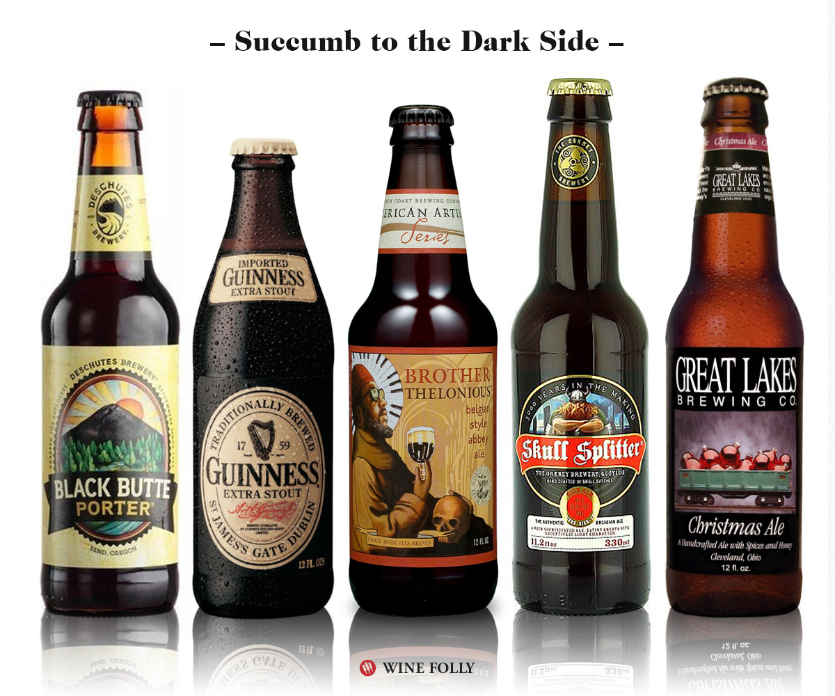 Dark Beer Wine Alternatives: Deschutes Black Butte Porter, Guinness Stout, North Coast Thelonious Monk, Orkney Skullsplitter, Great Lakes Christmas Ale