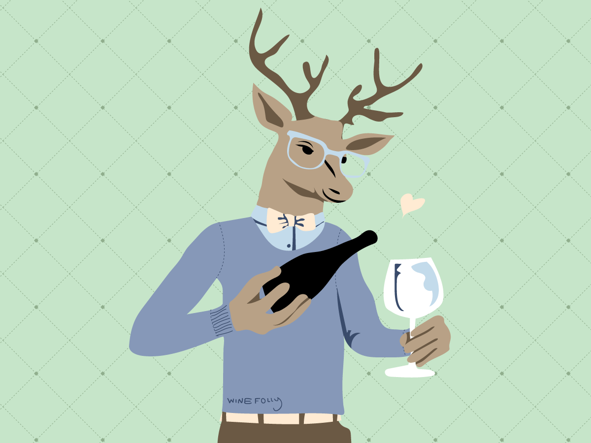 Deer pouring wine in human clothes illustration by Wine Folly