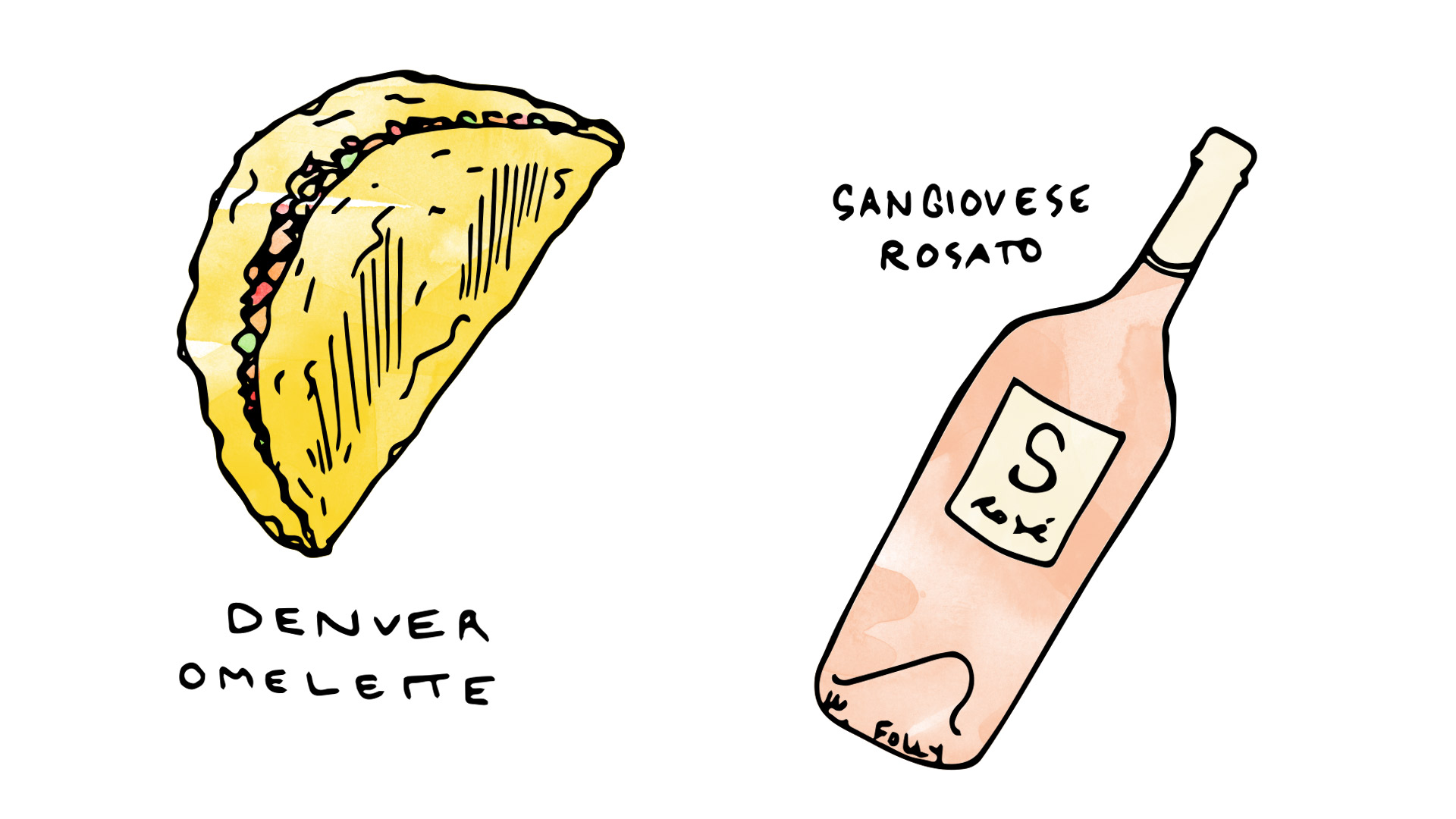 Denver Omelette wine pairing with sangiovese rose illustration by Wine Folly