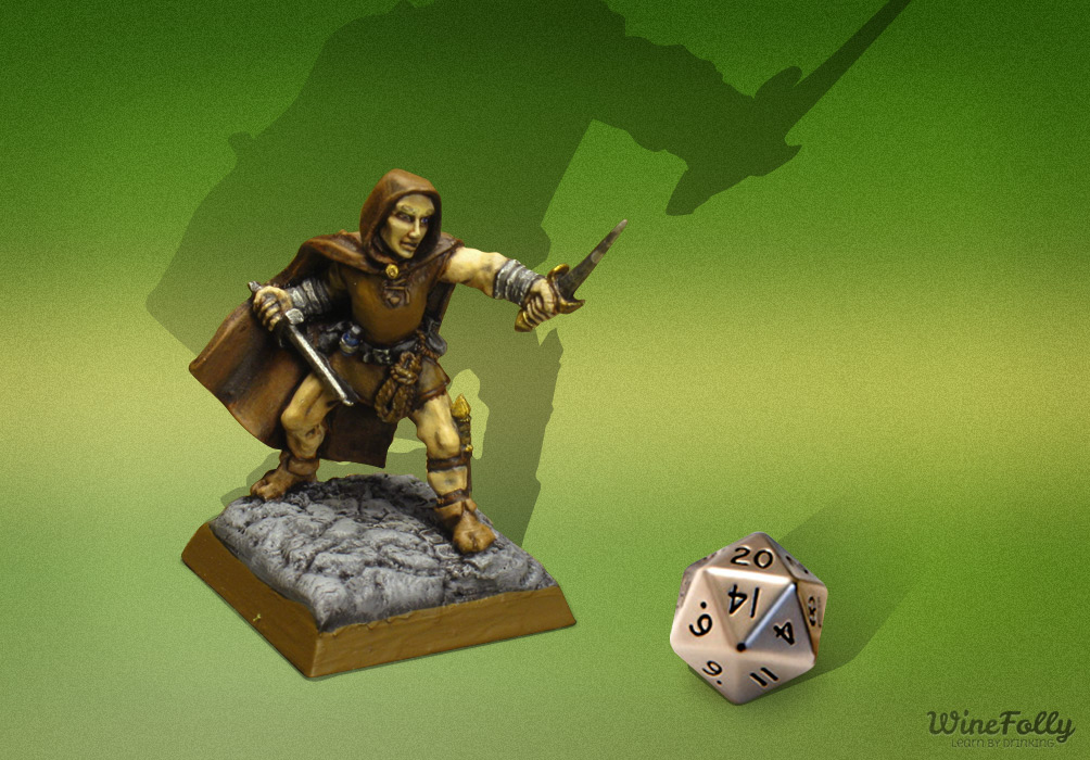Dungeons and Dragons Game Piece Miniatures with Dice