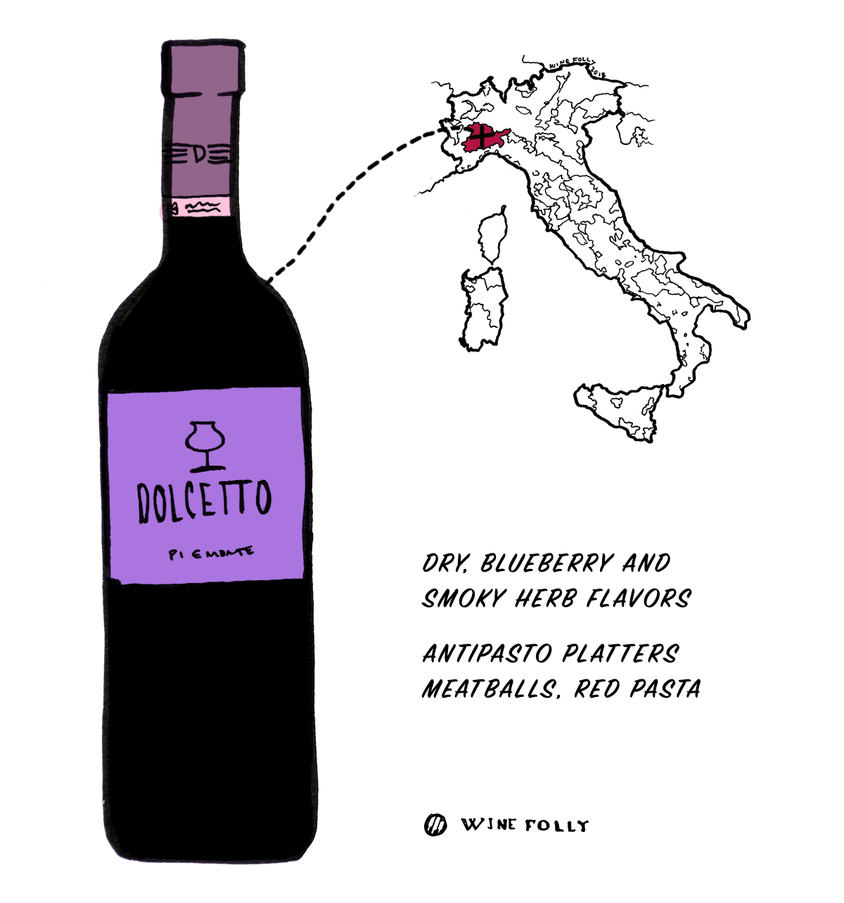 Dolcetto red wine grape from Italy - Great choice for beginners into Italian wine - Illustration by Wine Folly