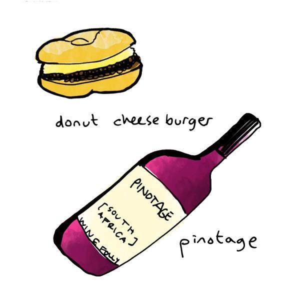 donut-cheeseburger-and-pinotage-wine