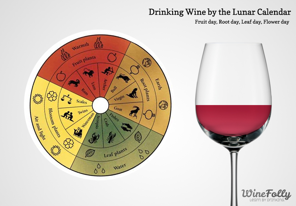 Drinking wine on a fruit day - biodynamic calendar