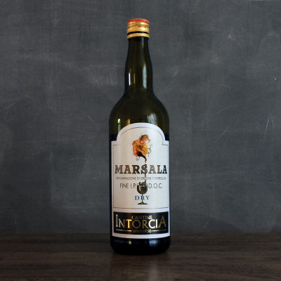 A bottle of dry Fine Marsala wine