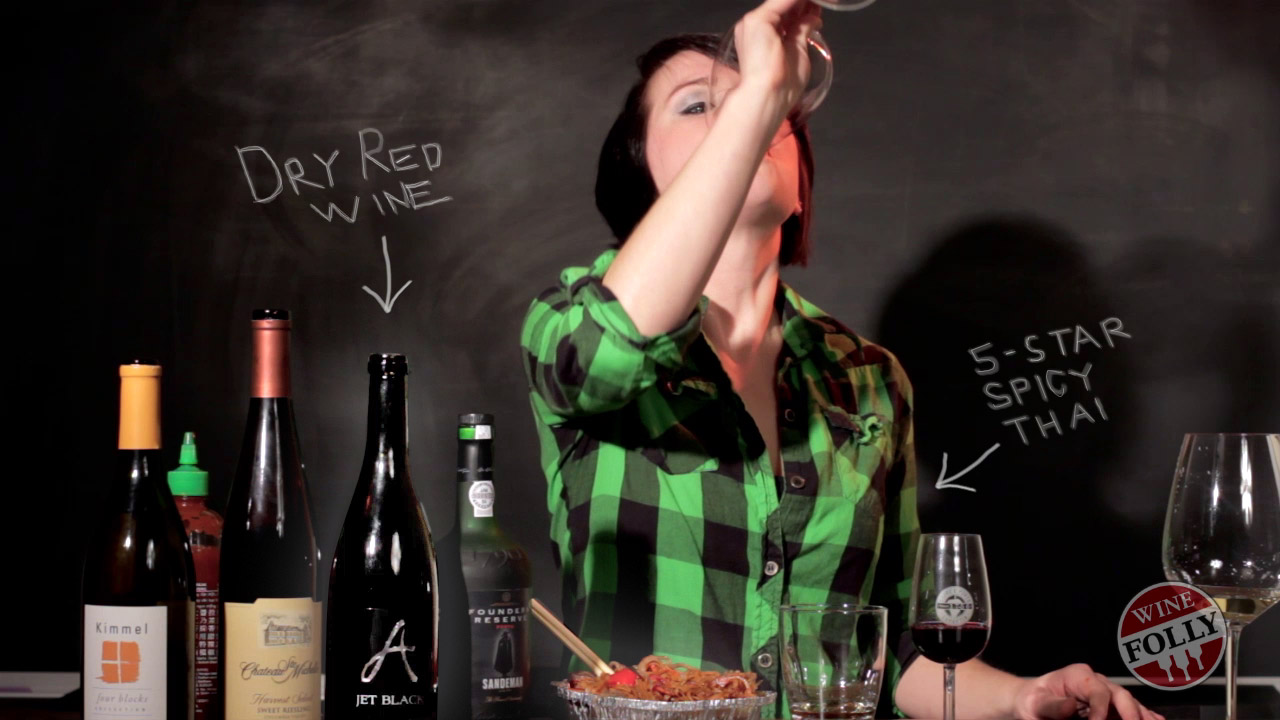 Madeline tests Dry red wine with spicy food