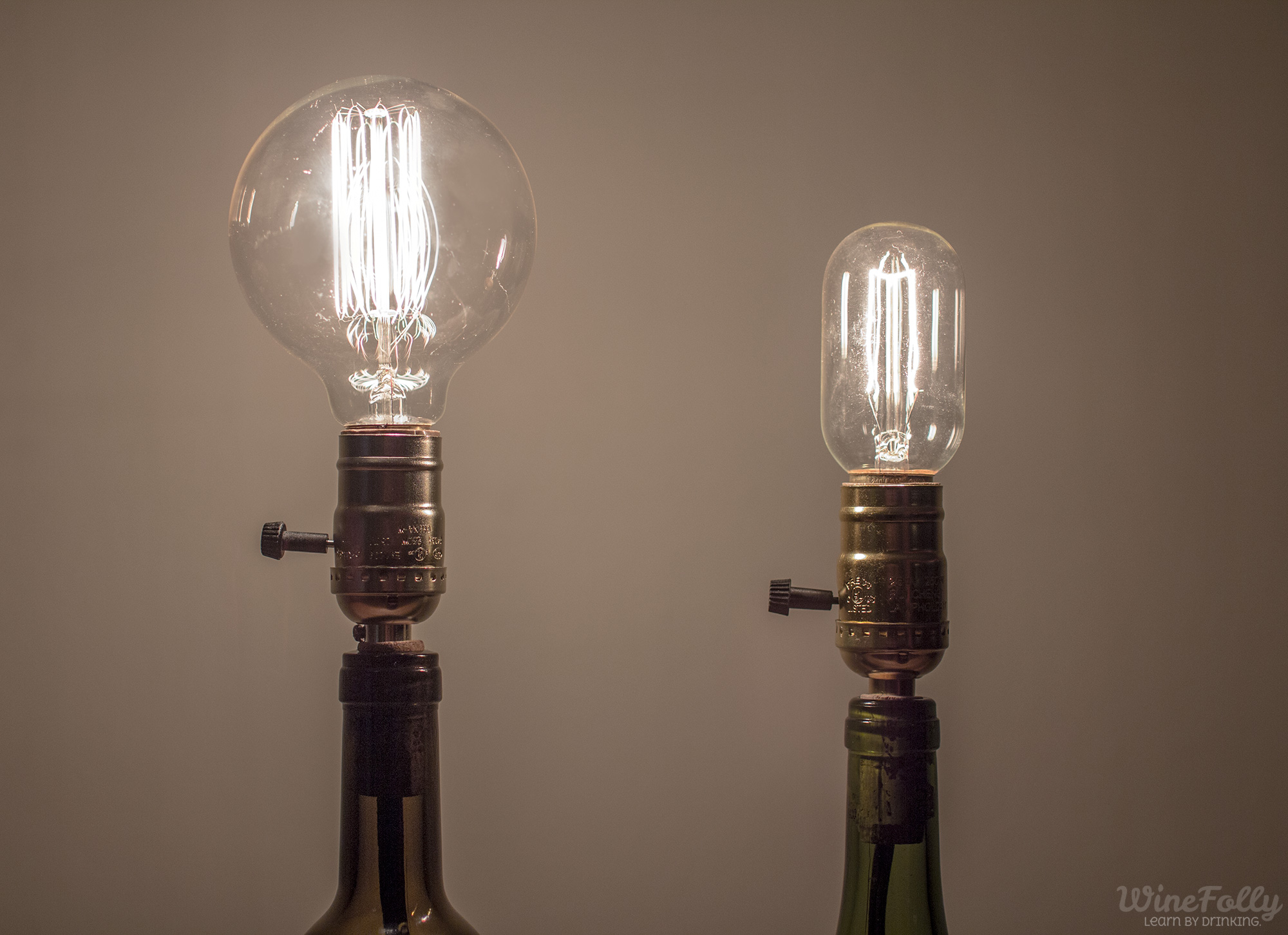 Edison bulb table lamp with a wine bottle