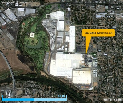 Aerial view of E&J Gallo Winery in Modesto, CA