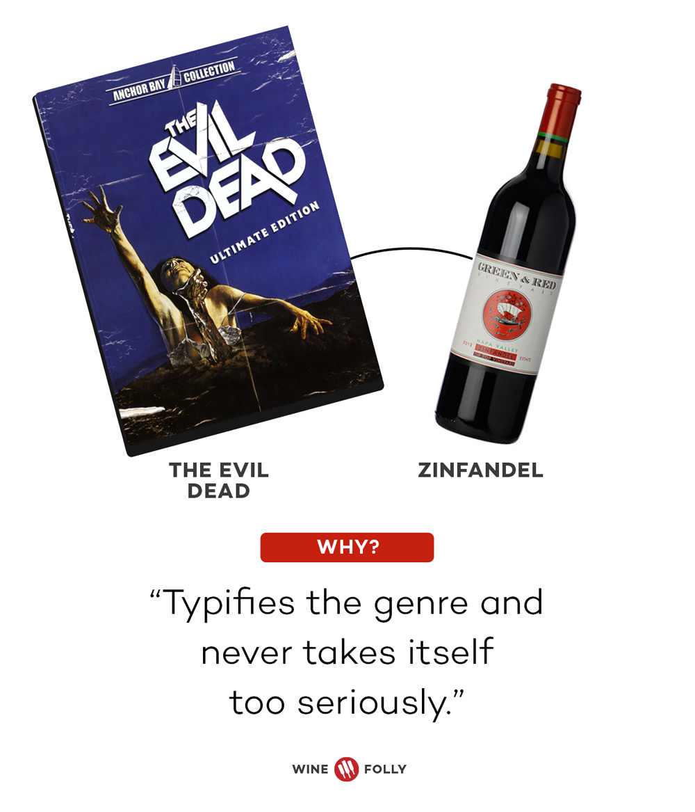 Evil Dead and Zinfandel Horror Movie Wine Pairings