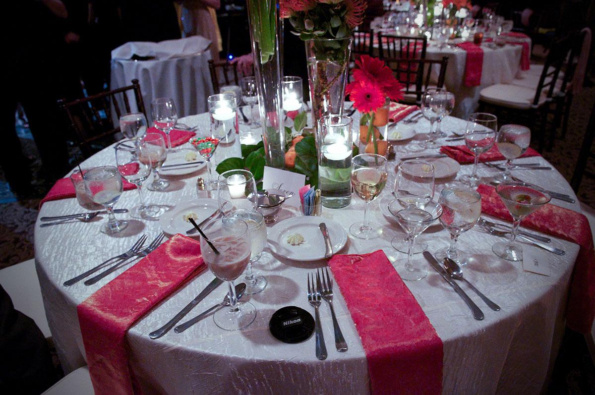 A table set for an elegant dinner.