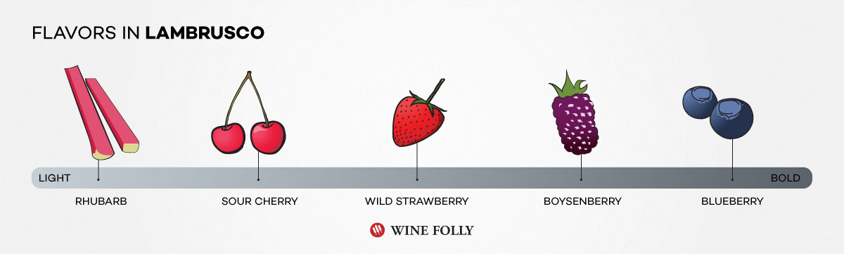typical flavors of lambrusco a sparkling red wine