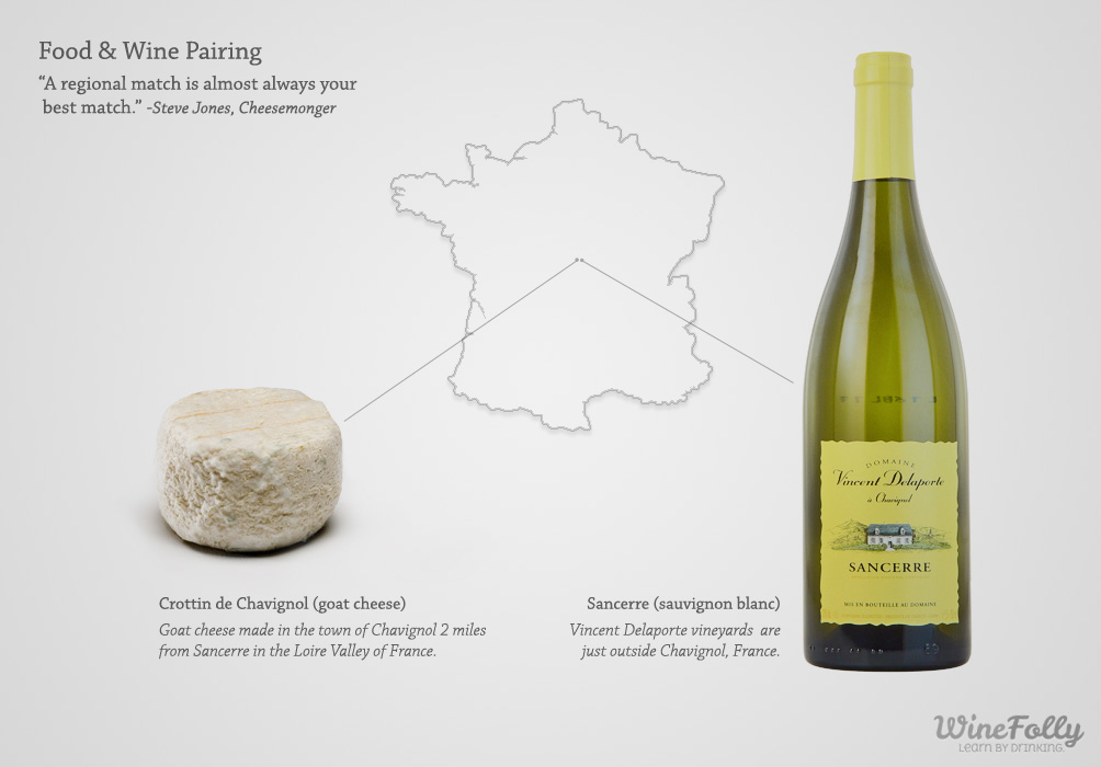 Food and Wine Pairing Regional Match Goat Cheese with Sancerre Sauvignon Blanc by Wine Folly