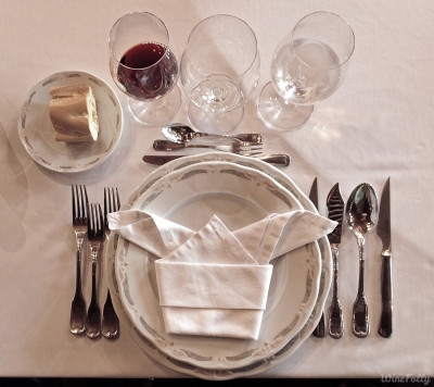 Formal Wine tasting Place Setting mise en place