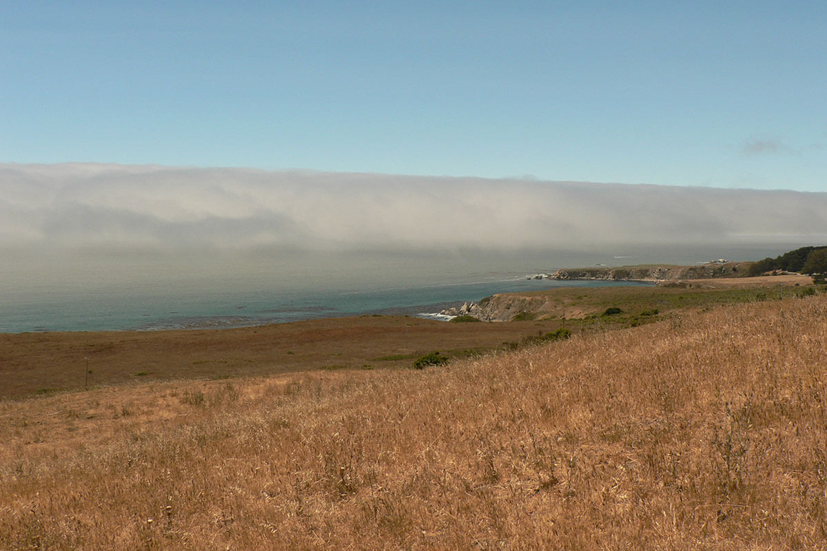 Fog coming from the Pacific Ocean into Fort Ross, California.