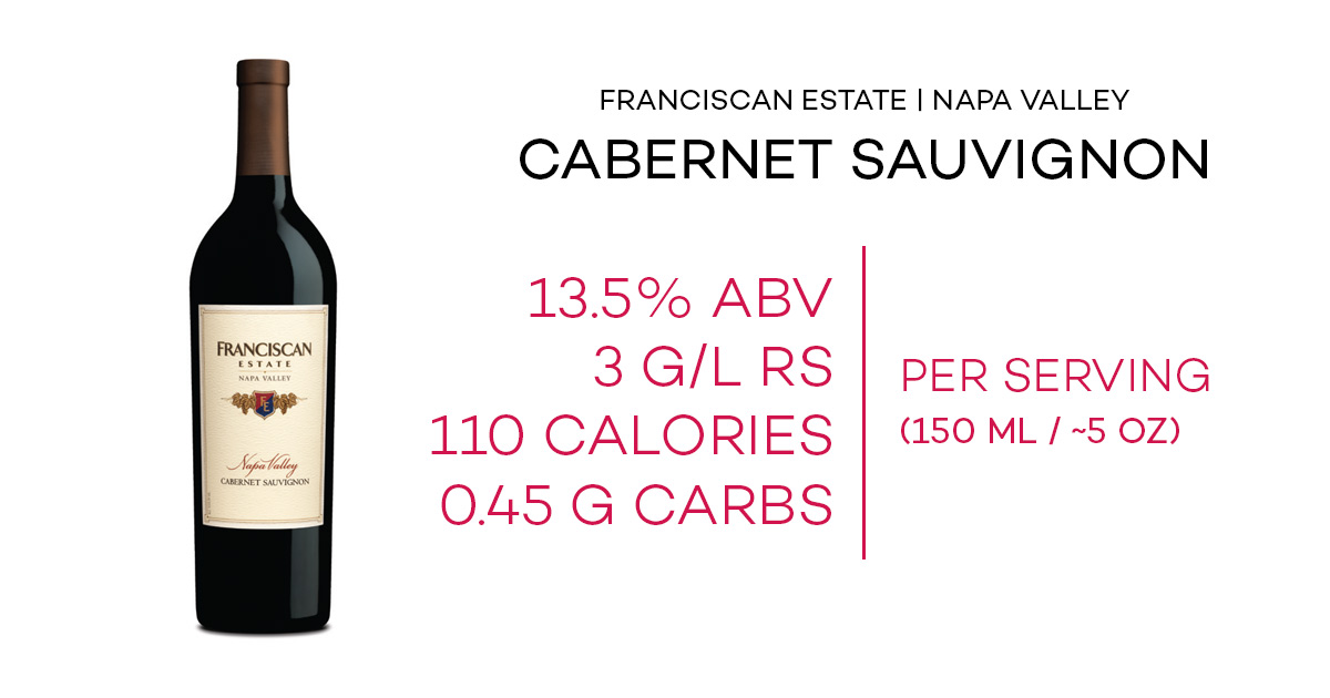 image and fact sheet for franciscan estate 2014 Cabernet Sauvignon indicating rs, carbs, calories, and abv