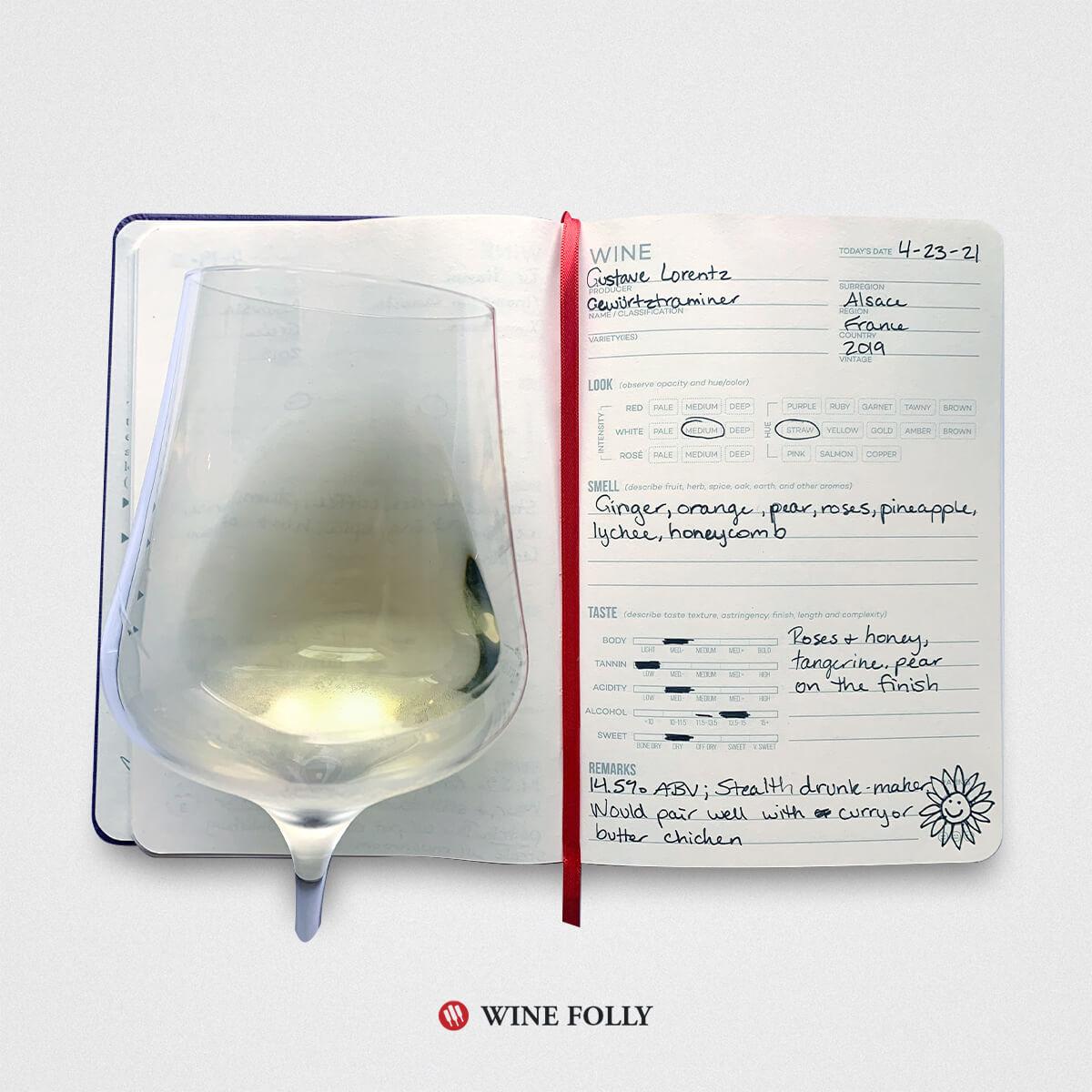 Wine Journal entry with glass of Gewürztraminer wine