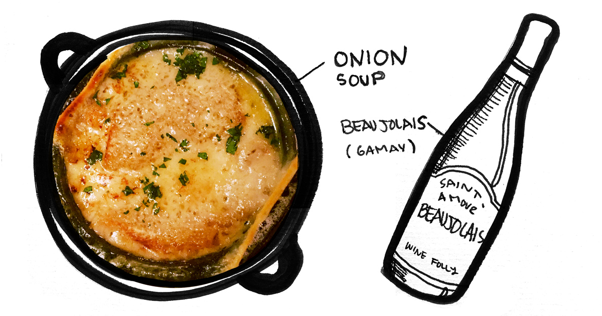 french-onion-soup-beaujolais-pairing-winefolly-illustration