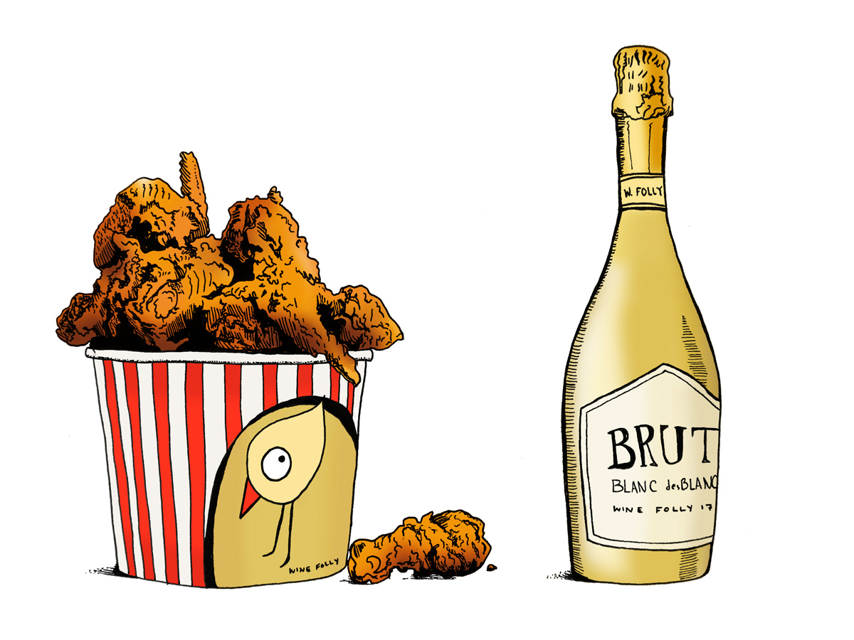 Fried Chicken and Wine Pairings - Champagne Illustration by Wine Folly
