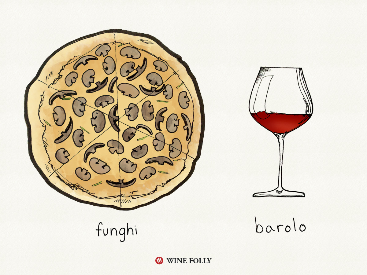 Funghi (authentic) Pizza and wine pairing with Barolo, a Nebbiolo wine by Wine Folly