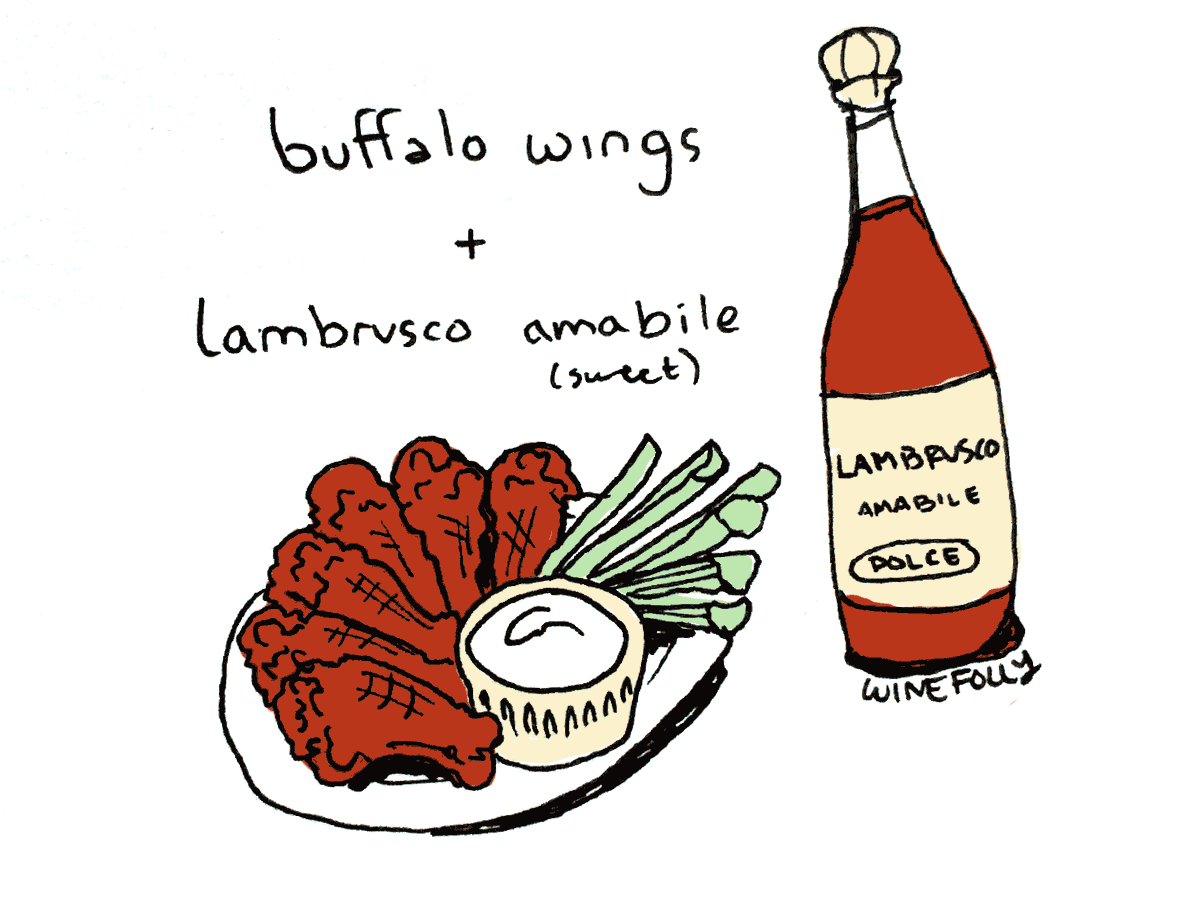 pairing wine with buffalo wings