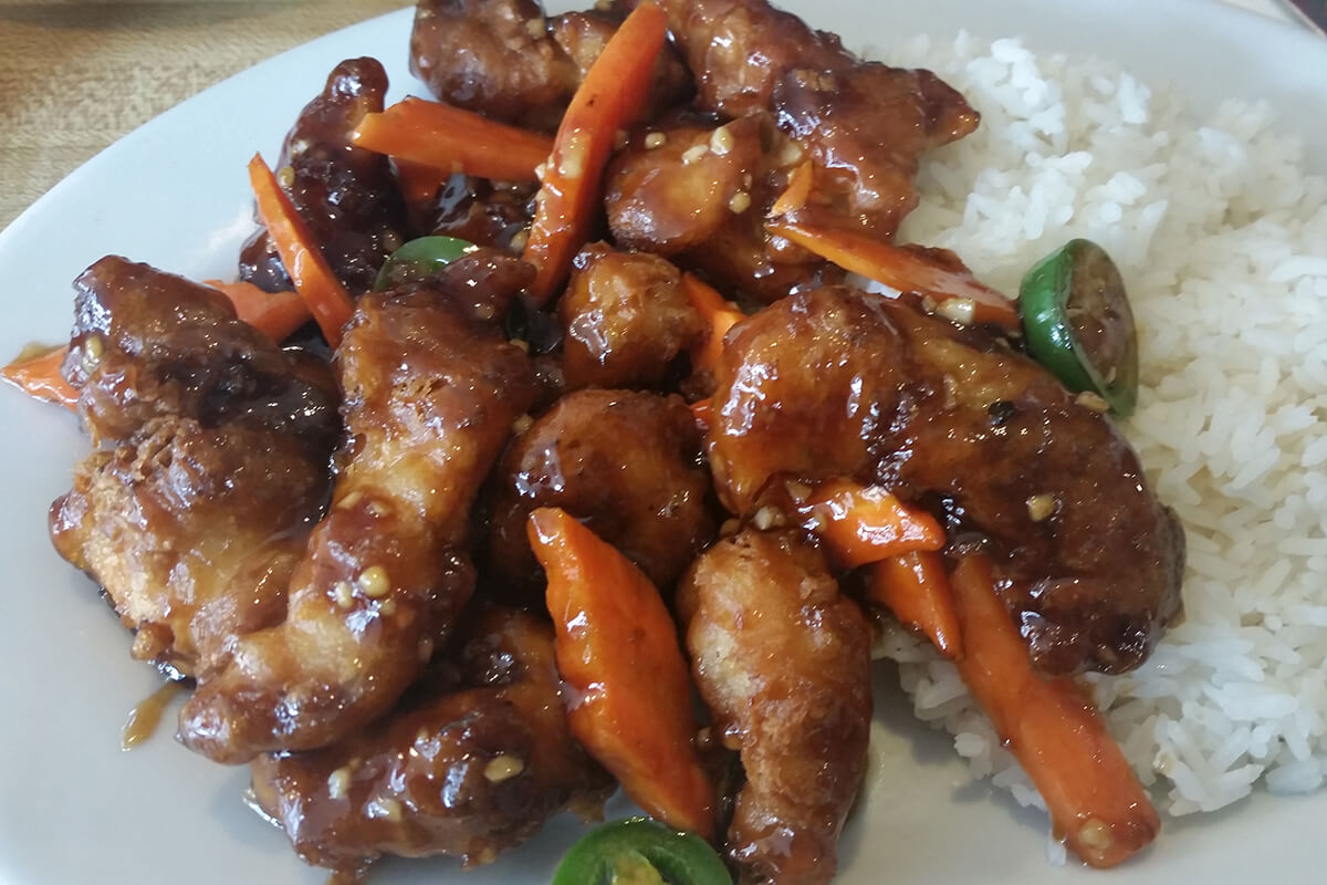 General Tso's chicken and rice.