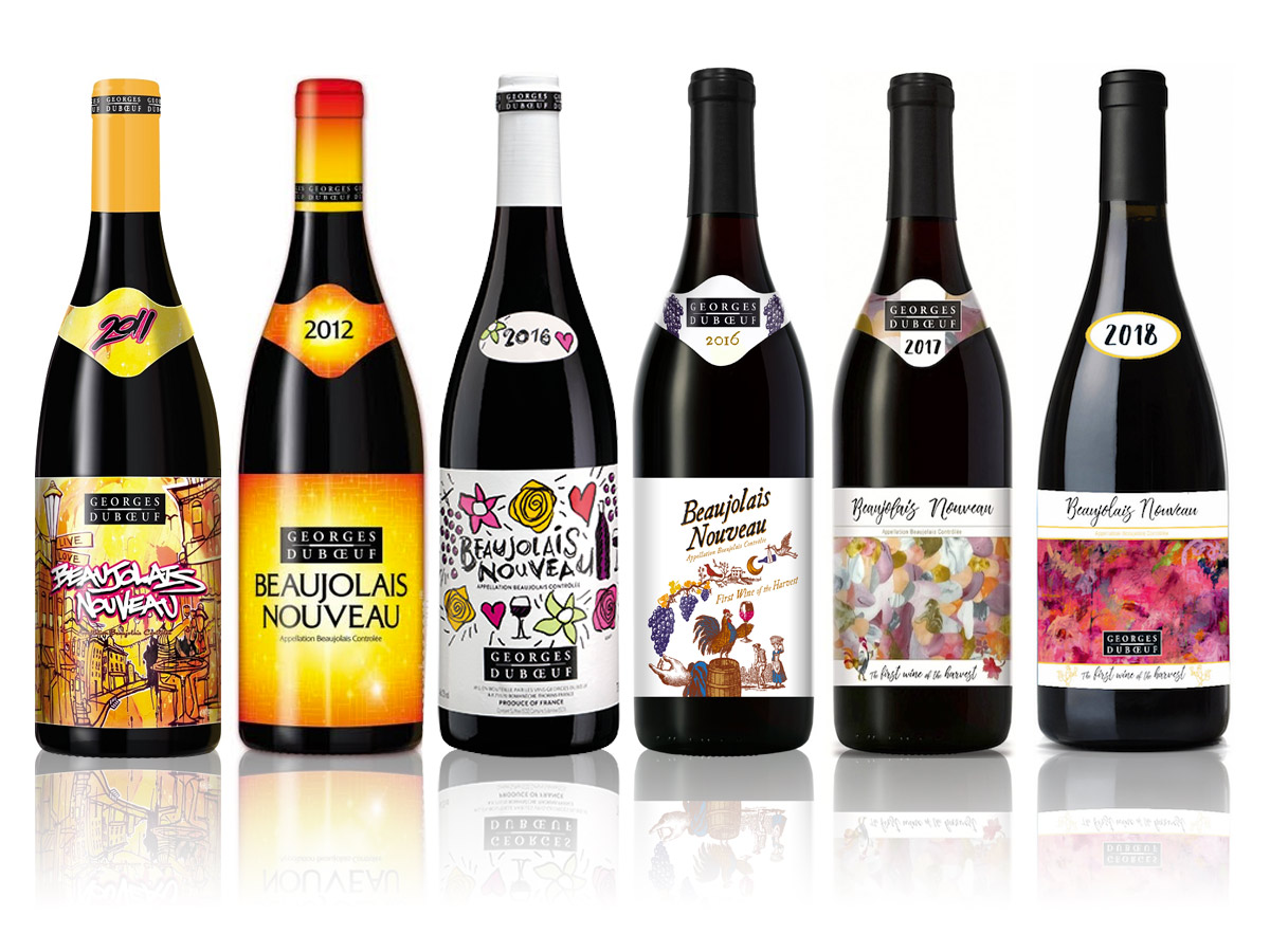 Georges duBoeuf Beaujolais Nouveau Label designs