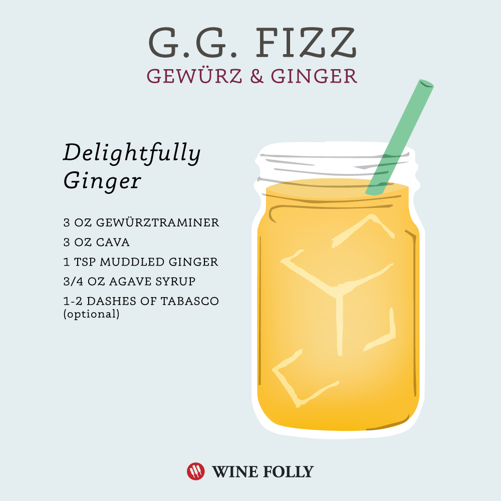 G.G. Fizz - Ginger Gewürztraminer Fizz - Wine Cocktail by Madeline at Wine Folly