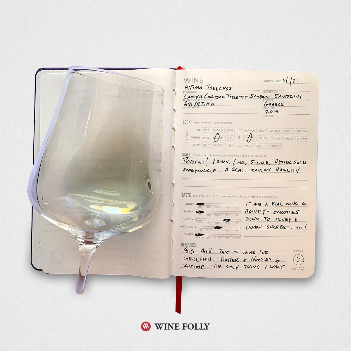Wine journal entry for Greek Assyrtiko
