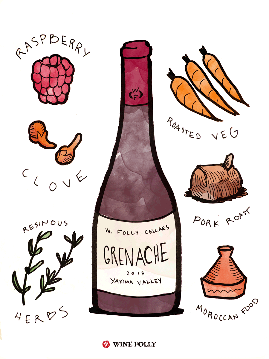 Grenache (aka Garnacha) Wine Taste & Food Pairing Illustration by Wine Folly