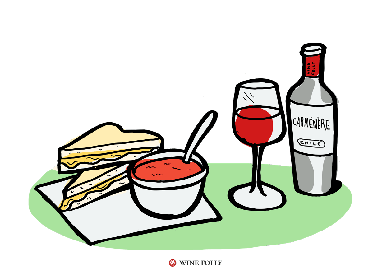 Grilled Cheese and Tomato Soup Pairs with Carménère Wine
