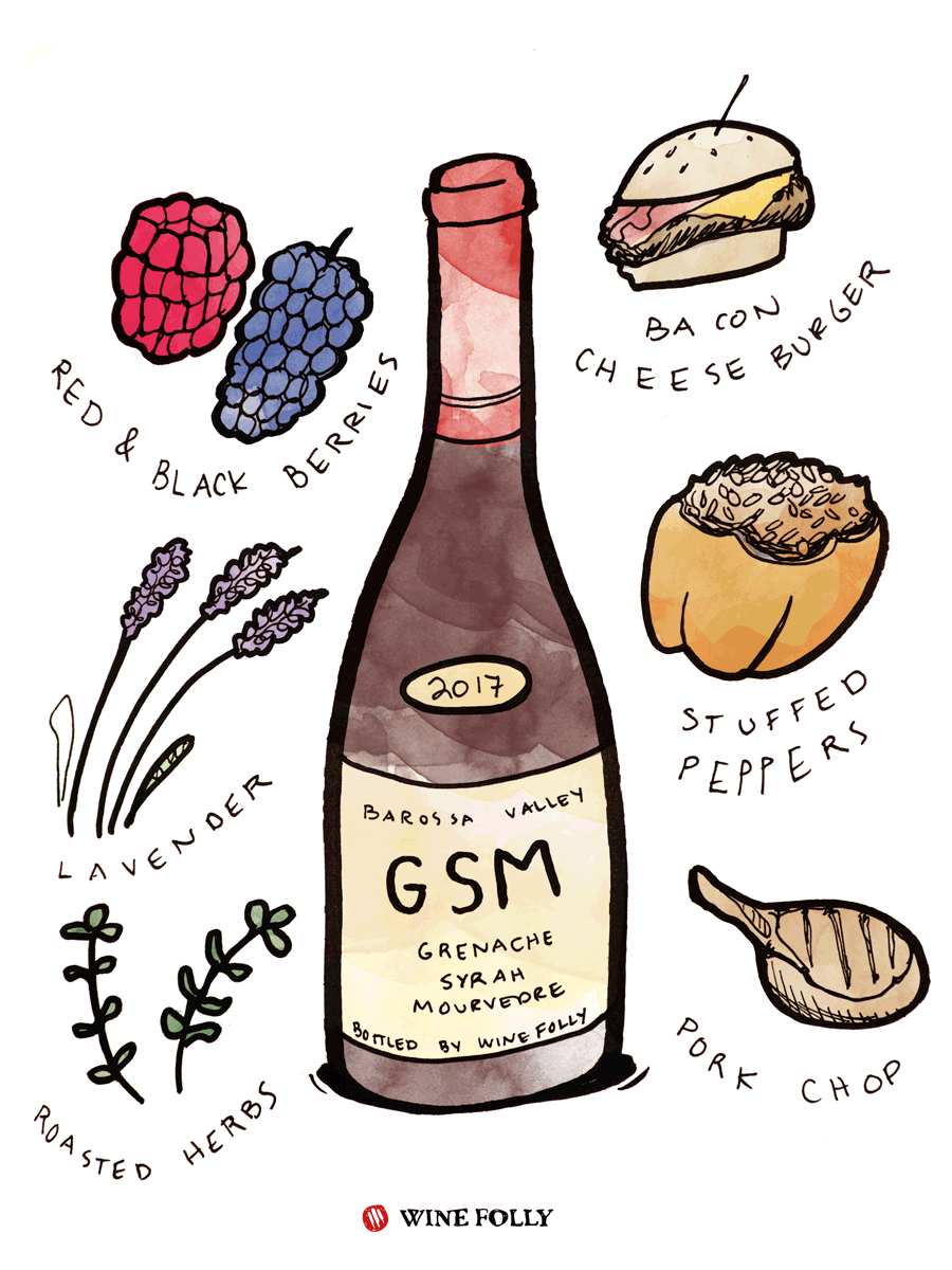 Grenache Syrah Mourvedre Wine Taste & Food Pairing Illustration by Wine Folly