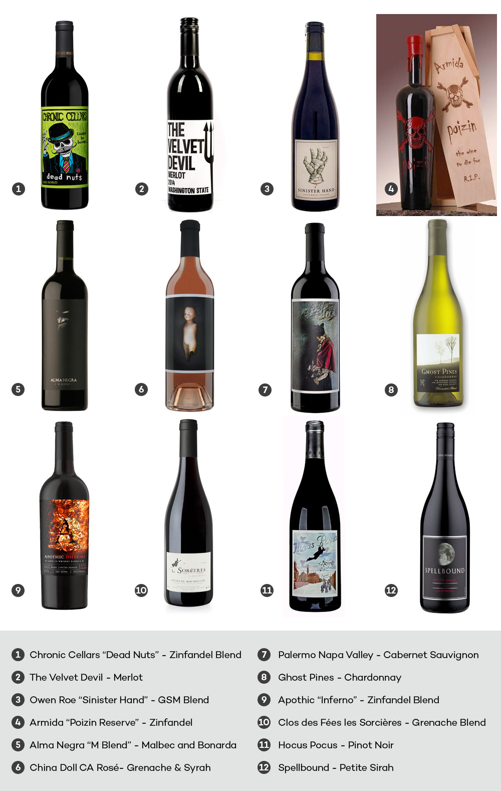 Halloween wines with spooky labels, curated by Stacy Slinkard