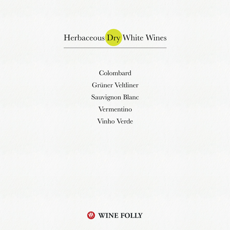 Herbaceous Dry White Wines