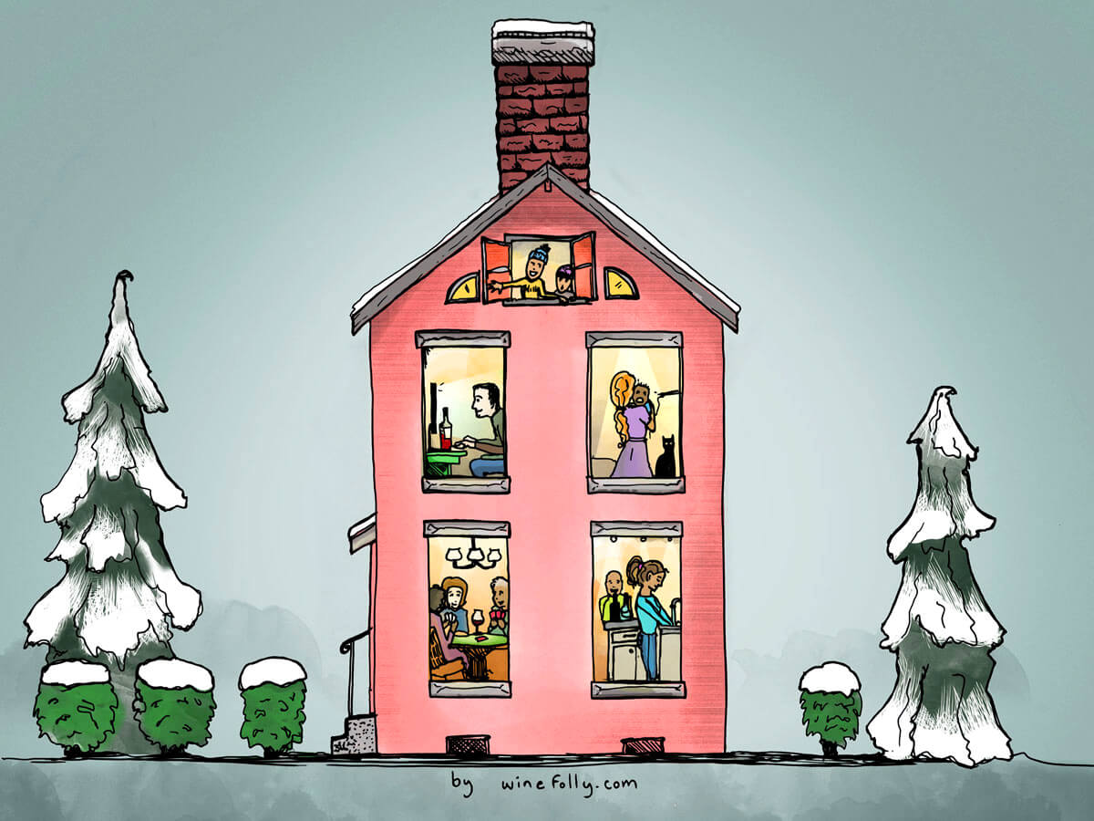 Christmas Wines 2018 Holiday Illustration Wine Folly