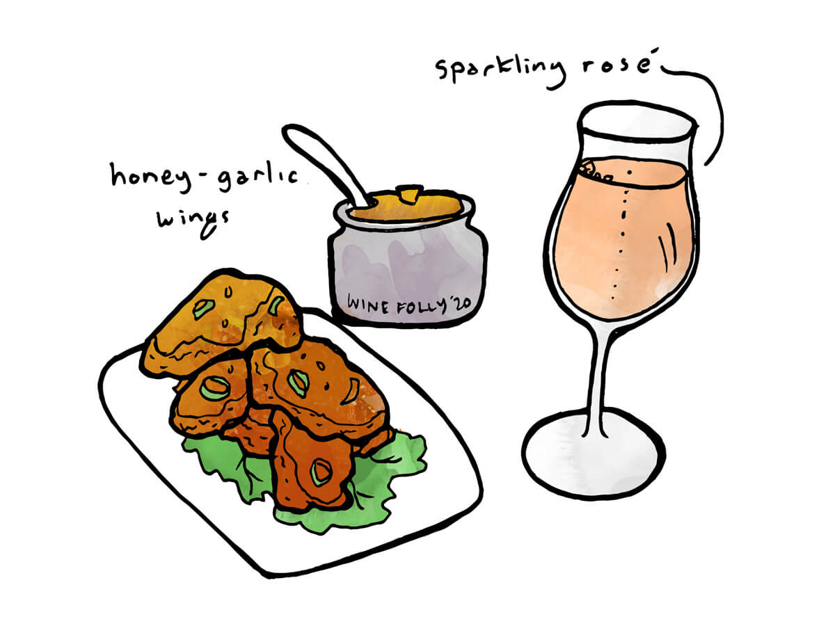 Honey Garlic chicken with sparkling rosé or crémant wine - illustration by Wine Folly