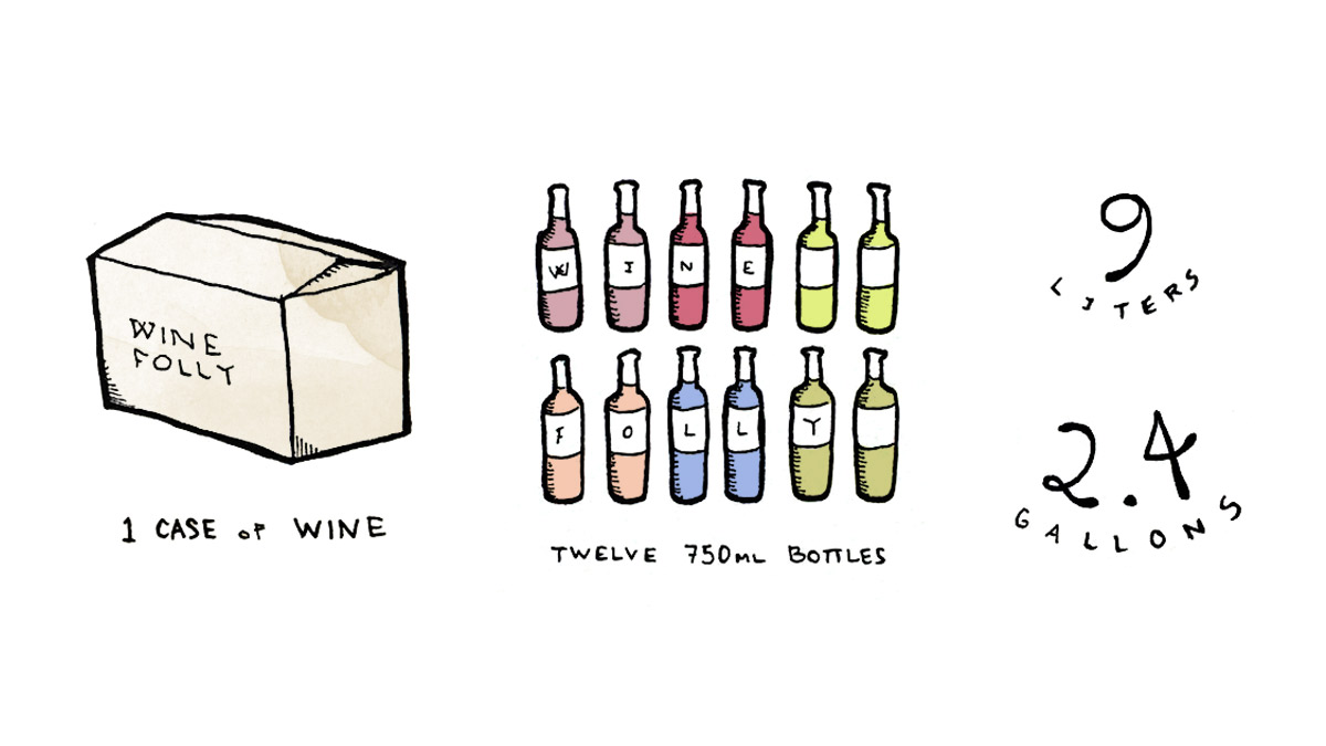 There are 12 bottles in a case of wine, that's 9 liters, or 2.37 gallons of wine - Illustration by Wine Folly