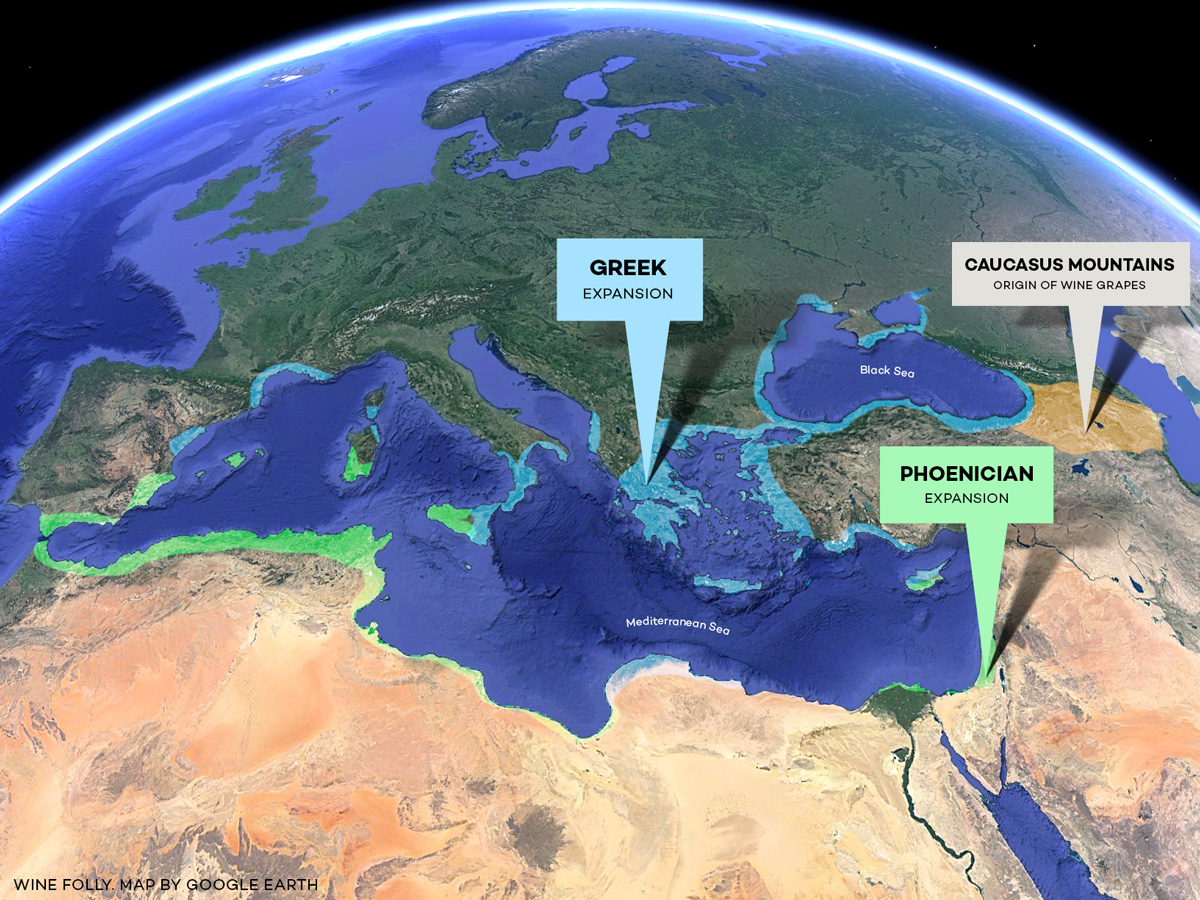 How Wine Grapes Spread through Europe map through Greek Phoenician rule