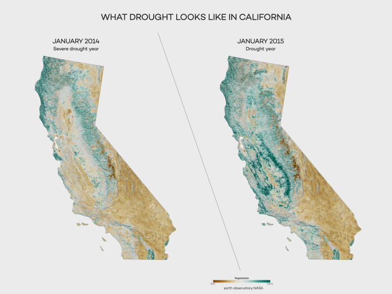 Vegetation in California Drought Years by NASA earth observatory
