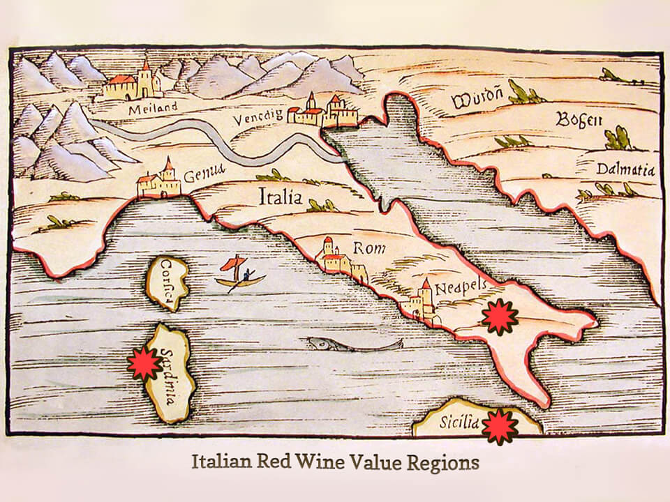 Map of Red Wine Value Regions in Italy