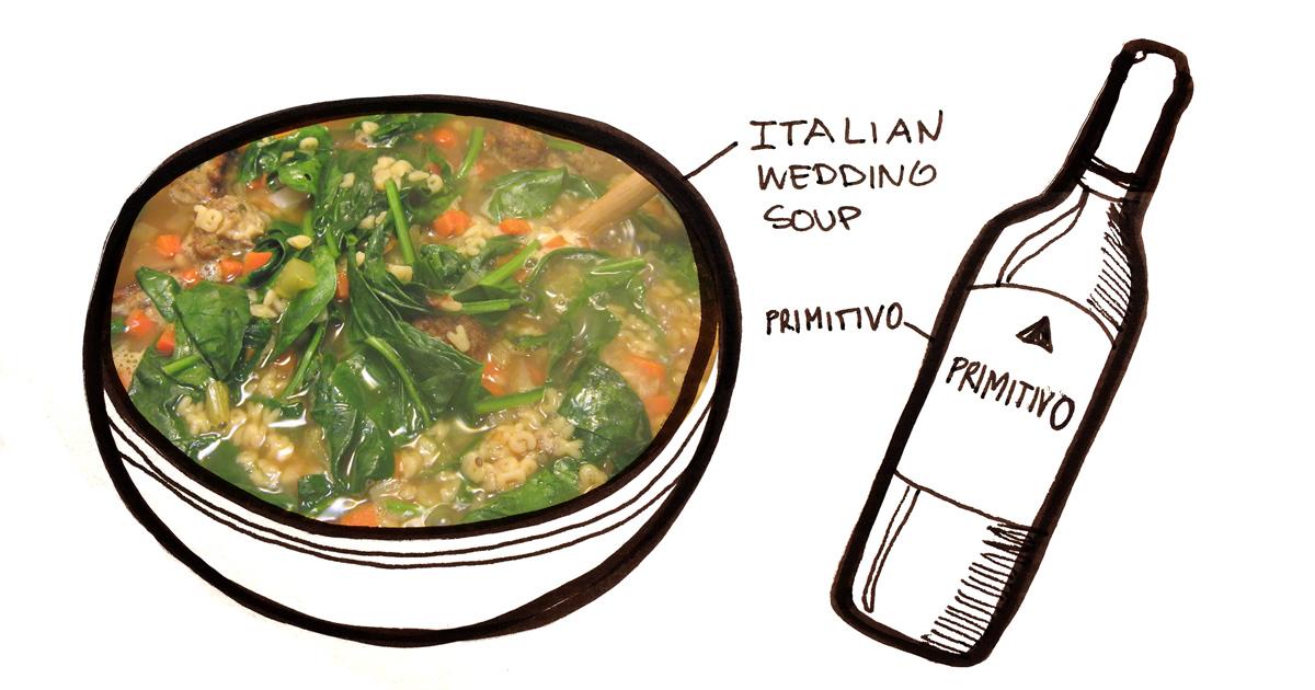 italian-wedding-soup-primitivo-pairing-winefolly-illustration