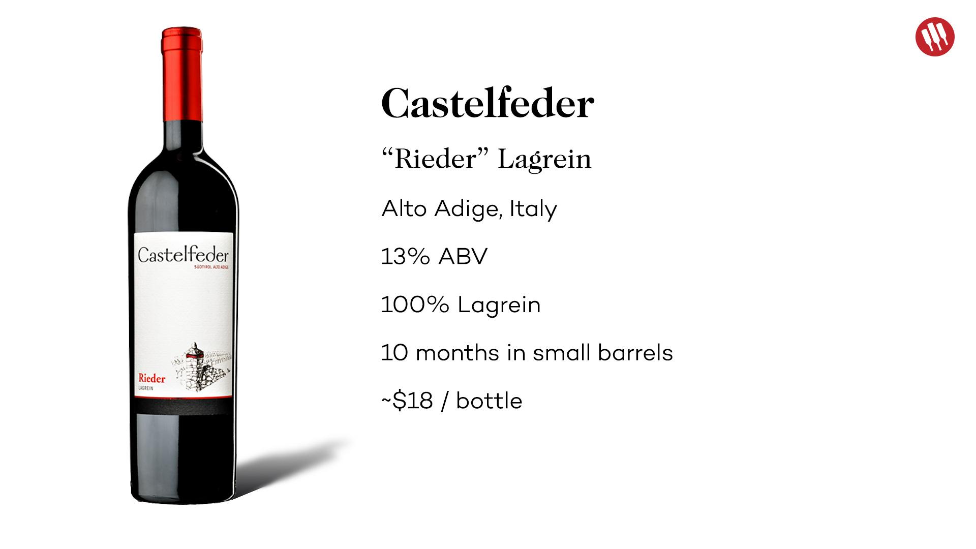Castelfeder Lagrein wine - Rieder from Alto Adige