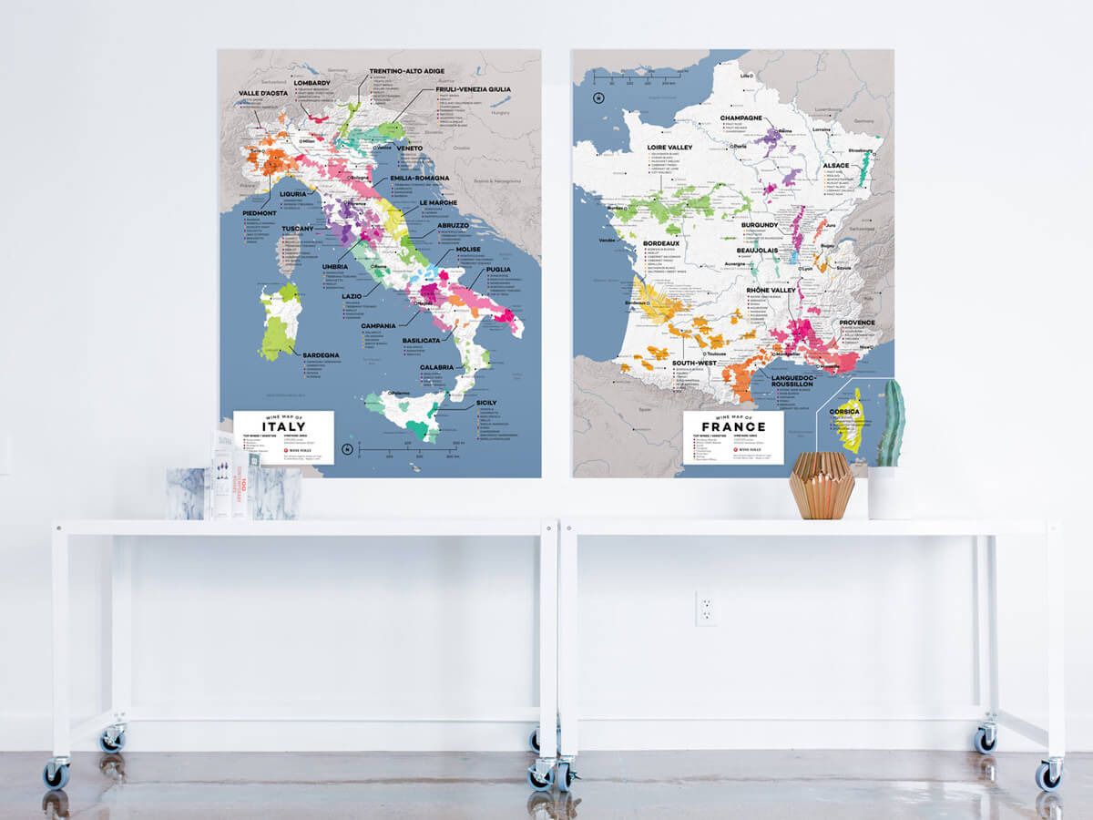 Large Wine Maps of Italy and France - gifts for wine lovers