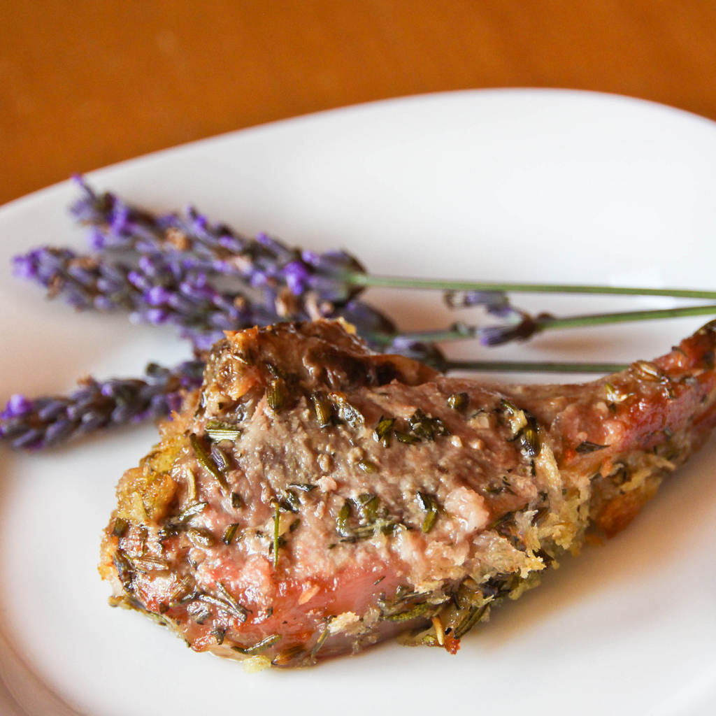 lavender crusted roast lamb chop