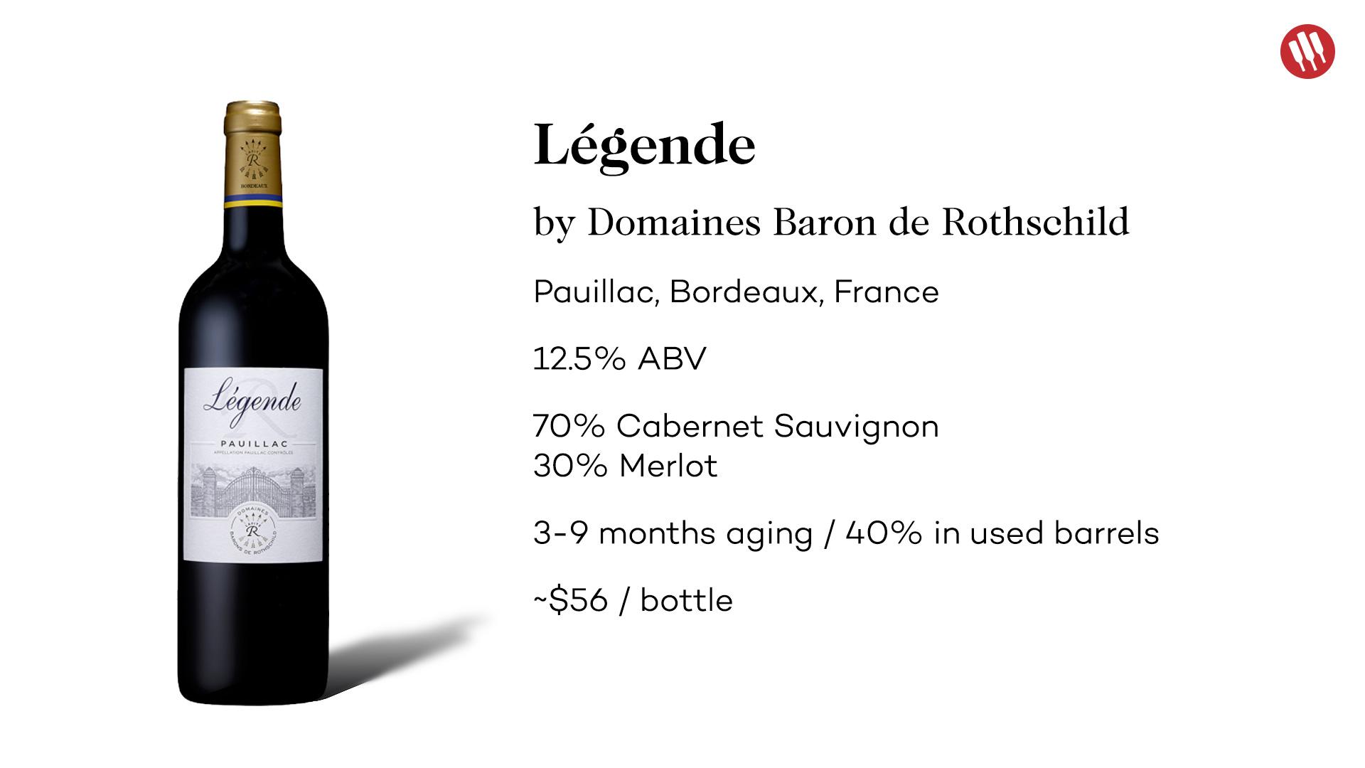 Legende 2015 Pauillac Bordeaux Cabernet Sauvignon Blend by Domaines Baron de Rothschild