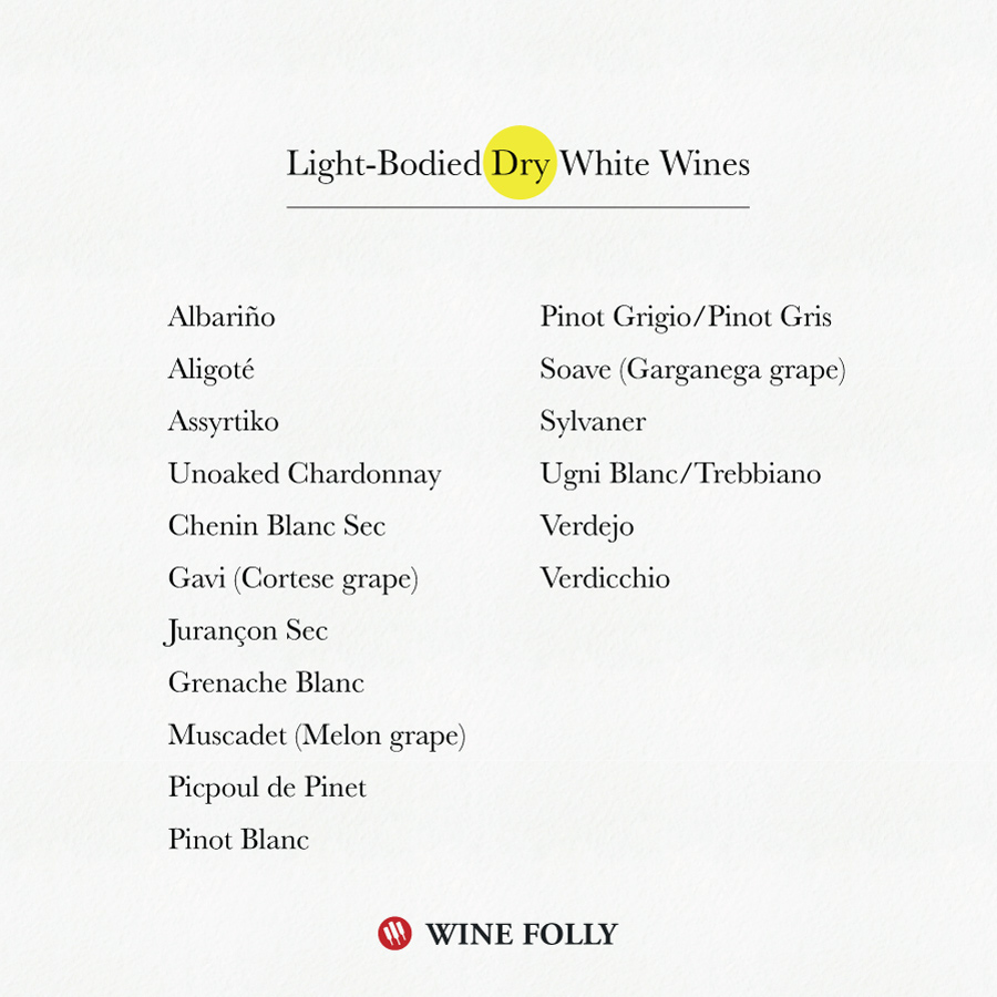 Light Bodied Dry White Wine