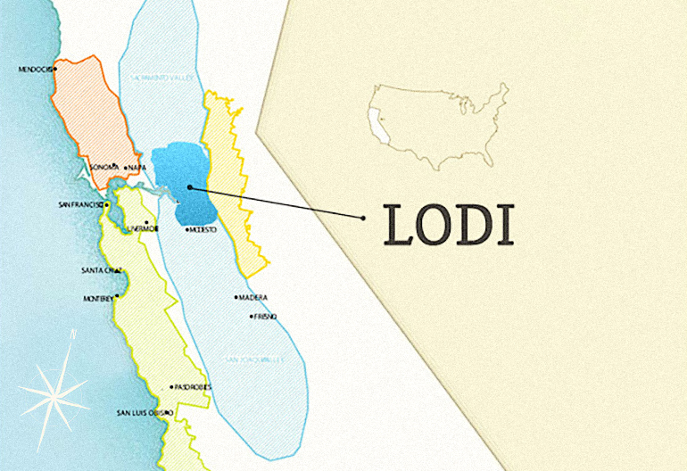 Lodi Wine Region Location within California. Map by Wine Folly