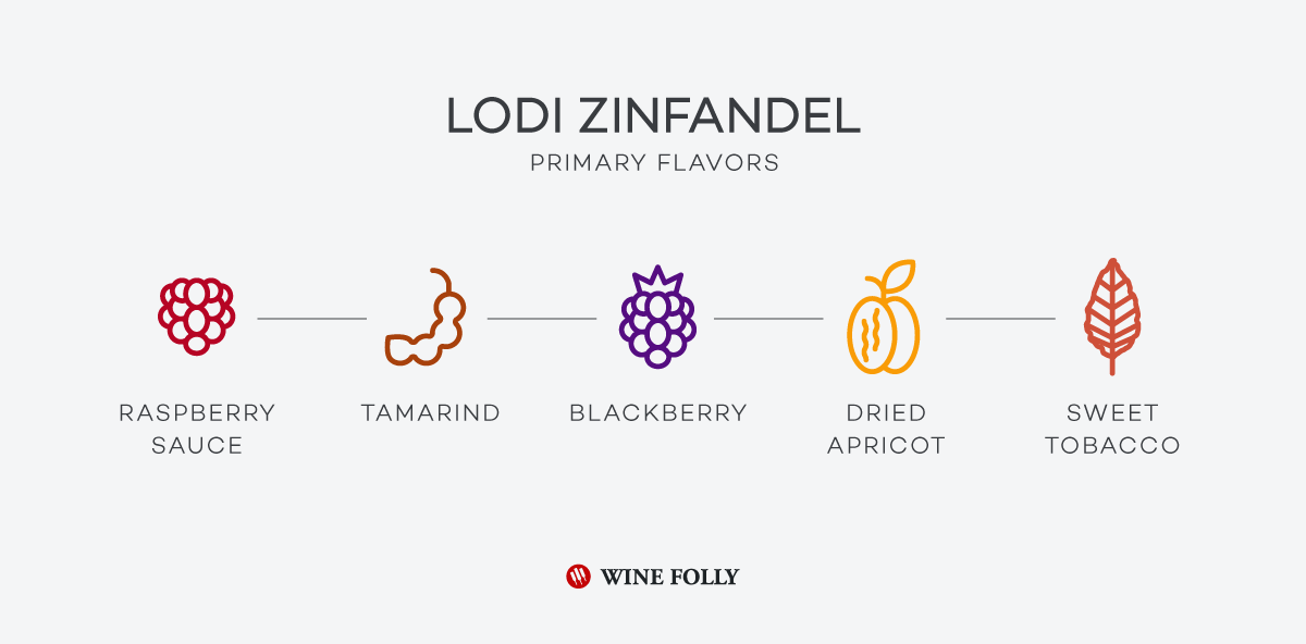 Lodi Zinfandel Tasting notes including raspberry sauce, blackberry, tamarind, dried apricot and sweet tobacco